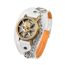 Relógio Skull Rock. Frete Grátis. Bracelete Marrom E Branco.