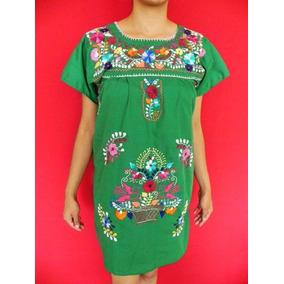 Vestido Verde Corto Bordado 100% A Mano, Comodo Y Elegante