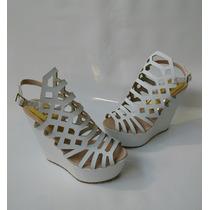 Hermoso Calzado Para Mujer Sandalia Blanca Plataforma Moda