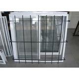 Ventana 120x110 Aluminio Blanco Vidrio Entero Con Reja