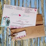 Convite De Casamento Modelo Rústico De Papel Reciclado +tag