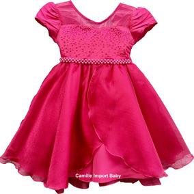 Vestido Princesa Rosa Pink Daminha Aniversario Promoção