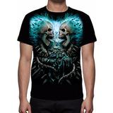Camisa, Camiseta Caveira Em Chamas - Estampa Total