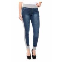Calça Jeans Com Moleton Sawary Levanta Bumbum Boyfriend