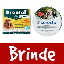 Coleira Seresto Bayer Cães Até 8kg E Gatos + Drontal