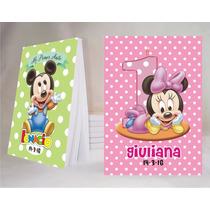 Minnie Y Mickey Bebe Souvenir Anotador Personalizado X32!!!