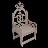 Banco Cadeira Mdf Coroa Princesa Príncipe Provençal Festa