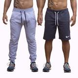 Calça Skinny De Moletom + Bermuda Da Masculina Shorts