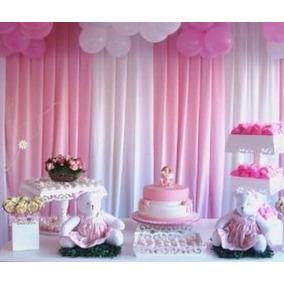 1 Cortina Rosa 6x2.2 Chá P/ Bebê Festa Aniversario Infantil