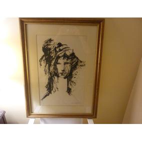 Original (rostro De Mujer) Enmarcado, Medidas 57x75cm.