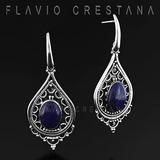 Brinco Lapis Lazuli Natural, Prata 925. India - 21909531