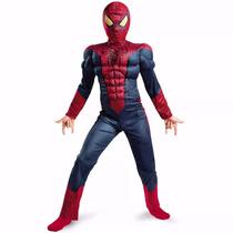 Fantasia Homem Aranha Infantil Luxo Músculos Com Luva+boneco