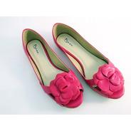 Sapatilha Peep Toe Com Flor Pink