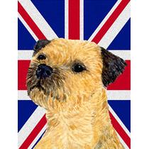 Border Terrier Inglés Con Union Jack Británica Bandera De