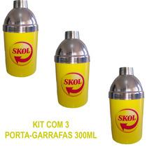 Porta Garrafa Cerveja 300ml Aluminio E Isopor Skol Kit Com 3