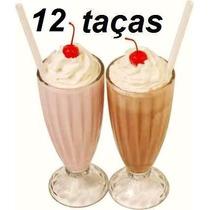 Jogo 12 Taça Milk Shake 380 Ml Vidro Copo Suco Sorvete