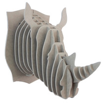 Rinoceronte Gris Cabeza Decorativa Animal Valchromat 8 Mm