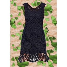 Vestido Tejido A Crochet Largo A La Rodilla