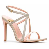 Sandalia Zapatilla Tacon Stiletto 10cm Hueso Elegante Andrea