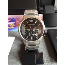 Relógio Emporio Armani Ar2434 Aço Com Preto Pronta Entrega