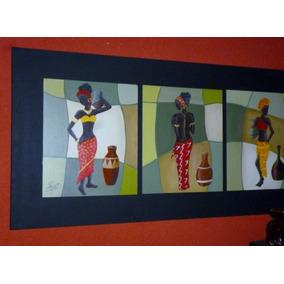 Cuadros Africanas Tripticos Pintados A Mano