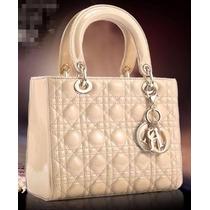 Bolsa Original Christian Dior Lady Di Bege Em Couro Na Caixa