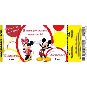 50 Convite Ingresso Mickey E Minnie Aniversário 48hrs