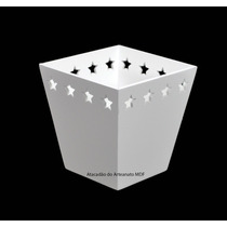 25 Cachepot Borda Estrela P Branco 11x7,5x7,5 Mdf- Madeira