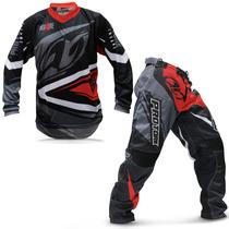 Kit Roupa Motocross Trilha Protork Insane 4 Vermelha Cinza