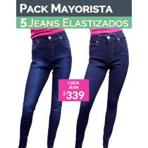 Pack 5 Jeans Elastizado Cintura Alta