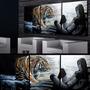 Cuadro Moderno Triptico Tigre Mujer Lienzo Algodón 1.5x0.6m
