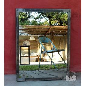 Espejo Industrial Con Marco Rústico En Hierro