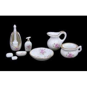 Hermoso Juego D Baño Miniatura Porcelana Para Casa De Muñeca