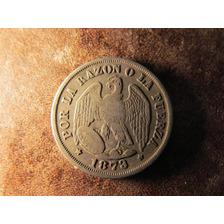 Moneda Plata Chile 20 Centavos 1873 Aguila  2,3 C