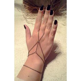 Hand Chain Anel Pulseira Astrid Teia Web Estilo Indiano