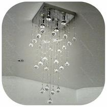 Lustre De Cristal Acrílico Base Inox 30x30cm- Vários Modelos