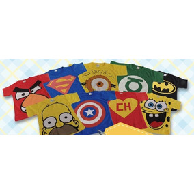 Kit Com 10 Camiseta Infantil Super Heróis