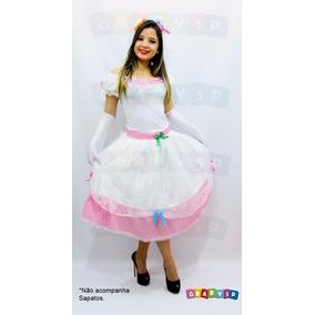 Vestido De Noiva Festa Junina Adulto + Tiara Com Véu + Luvas