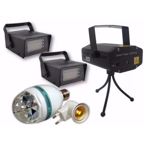 Kit Iluminação Festa 2 Strobo Laser Projetor Bola Maluca Led