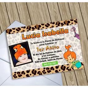 Invitaciones Digitales Personalizadas Pebbles Picapiedra