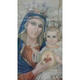 Antiguo Cuadro De Virgen Del Sagrado Corazon