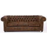 Sofa Premium 3 Cuerpos En Similcuero Talampaya Con Capitone