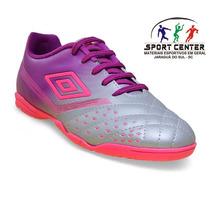 Tenis Umbro Futsal Fifty Cinza/roxo Feminino Original+ Nf