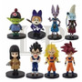 Set 8 Figuras Muñecos Dragon Ball Con Base Adorno Torta