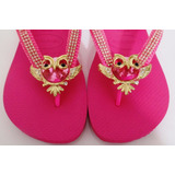 Chinelo Havaianas Top Pink Com Coruja E Strass Dourado