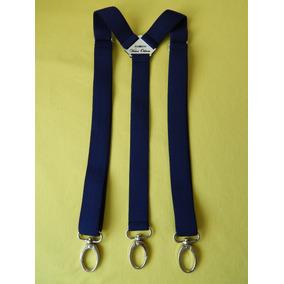 Tirador Pantalón Suspenders Mosqueton Presilla Azul Mari 3cm