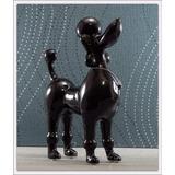 Enfeite Cachorro Poodle Preto Toy Linha Requinte Cerâmica