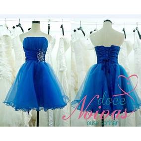 Vestido Debutante Curto Azul Bic Novo Pronta Entrega