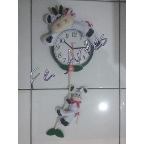 Relógio Decorado Em Feltro Vaca Artesanal Decoração Cozinha