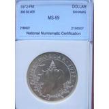 Medalla Bahamas 1 Dolar Año 1972 Sin Circular Ms-69 Plata